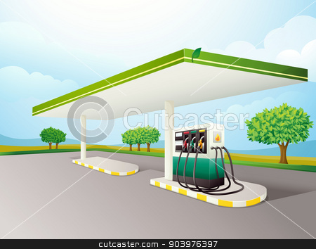 petrol pump stock vector clipart, illustration of a petrol pump on a road by Matthew Cole