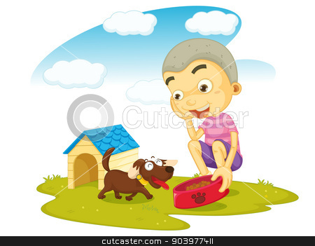a boy serving food to dog stock vector clipart, illustration of a boy serving food to dog on white by Matthew Cole