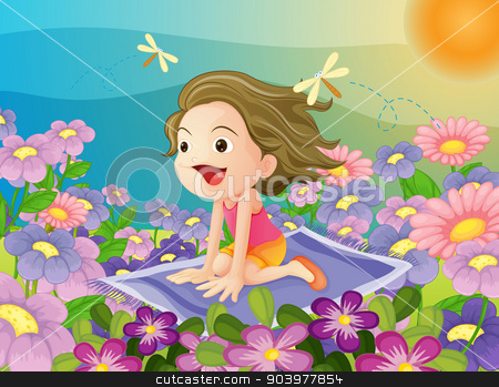 girl on a mat stock vector clipart, illustration of a girl flying on a mat by Matthew Cole