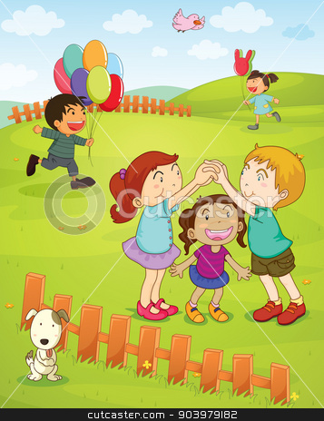 Kids playing in the park stock vector clipart, Illustration of kids playing in the park by Matthew Cole