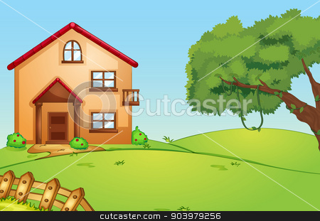 house in nature stock vector clipart, illustration of a beautiful house in green nature by Matthew Cole