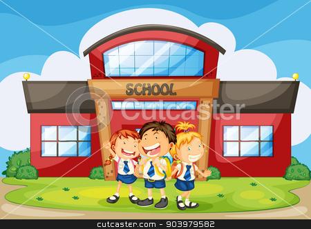 kids infront of school stock vector clipart, illustration of kids infront of school building by Matthew Cole
