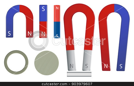 magnet set stock vector clipart, Illustration of a magnet set by Matthew Cole
