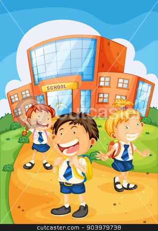 kids infront of school stock vector clipart, illustration of a kids infront of school by Matthew Cole