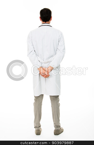 backside view of a male doctor stock photo, Full length backside view of a male doctor with hands behind his back by Flareimage