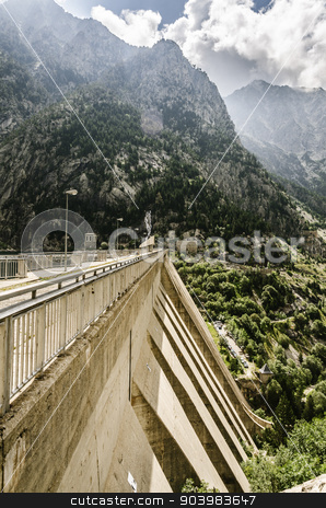 Cola del Embalse de Cavallers. stock photo, Beautiful river into the Pyrenees mountains with cristal clear water. by TilyoRusev