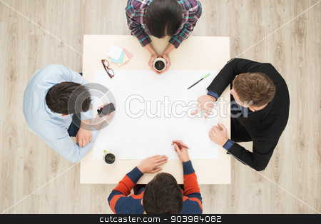Top view table with group of people stock photo, Top view of table with group of busy people working on project. Business team concept by Dmytro Sidelnikov