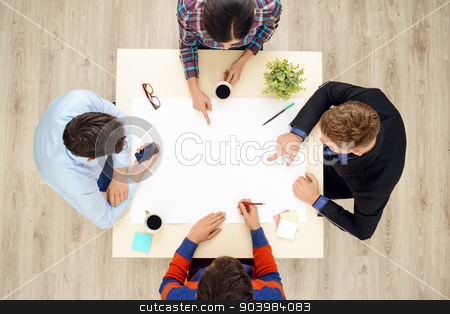 Top view table with group of working people stock photo, Top view of table with group of creative people working on project. Business team concept by Dmytro Sidelnikov