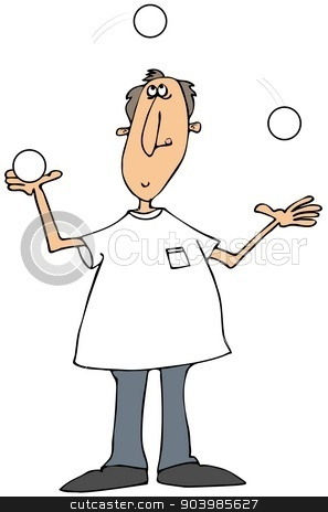 Man juggling white balls stock photo, This illustration depicts a man juggling three white balls. by Dennis Cox