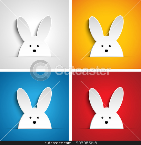 Happy Easter Rabbit Bunny Set Cartoon stock vector clipart, Vector - Happy Easter Rabbit Bunny Set Cartoon by Augusto Cabral Graphiste Rennes