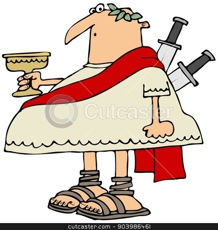 Ides of March stock photo, This illustration depicts Julius Caesar holding a goblet with 2 knives stuck in his back. by Dennis Cox