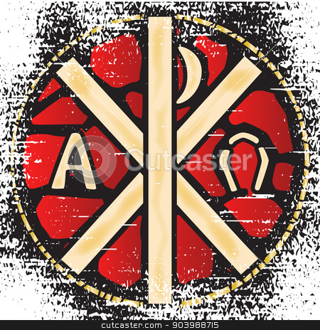 Alpha Omega Stained Glass stock vector clipart, A grunge effect stain glass window depicting the Alpha Omega by Kotto