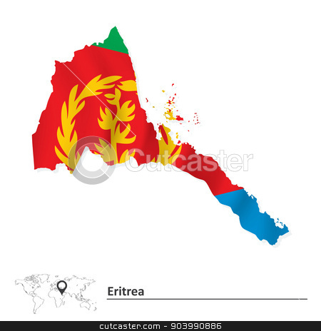 Map of Eritrea with flag stock vector clipart, Map of Eritrea with flag - vector illustration by ojal_2