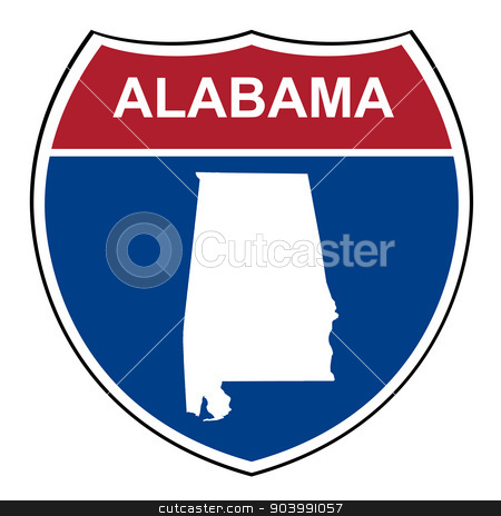 Alabama interstate highway shield stock photo, Alabama American interstate highway road shield isolated on a white background. by Martin Crowdy