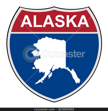 Alaska State interstate highway shield stock photo, American State of Alaska map interstate highway road shield isolated on a white background. by Martin Crowdy