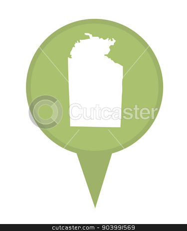 Australia Northern Territory State map marker pin stock photo, Australia Northern Territory State map marker pin isolated on a white background. by Martin Crowdy