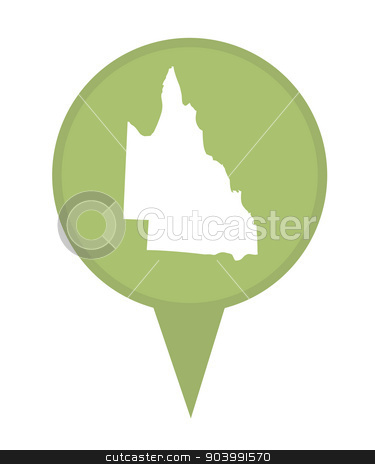 Australia Queensland State map marker pin stock photo, Australia Queensland State map marker pin isolated on a white background. by Martin Crowdy