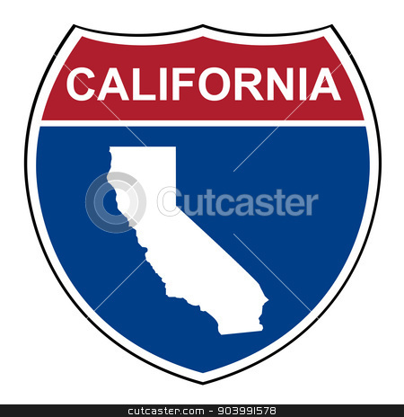 California interstate highway shield stock photo, California American interstate highway road shield isolated on a white background. by Martin Crowdy