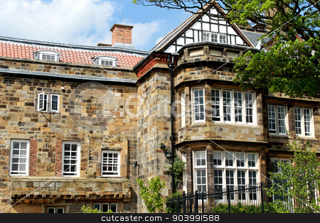Old English manor house stock photo, Exterior of an old English stately home or manor house in North Yorkshire, England. by Martin Crowdy