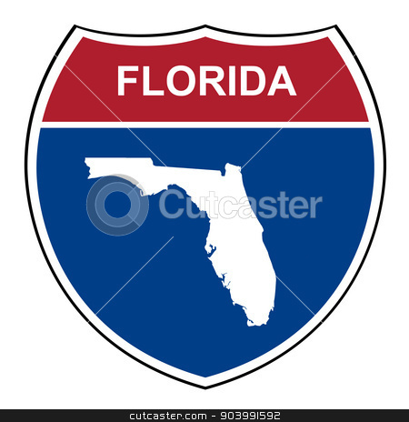 Florida interstate highway shield stock photo, Florida American interstate highway road shield isolated on a white background. by Martin Crowdy