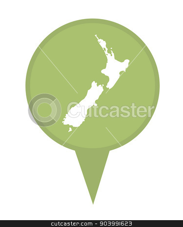 New Zealand map marker pin stock photo, New Zealand map marker pin isolated on a white background. by Martin Crowdy