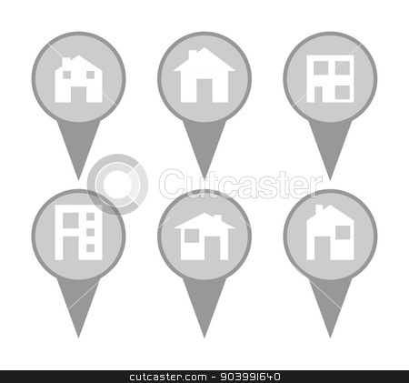 Set of modern house map pin icons stock photo, Set of modern house map pin icons in a white background. by Martin Crowdy