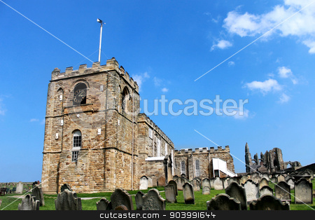 St Marys Church in Whitby stock photo, Scenic view of St. Marys Church in Whitby with graves in the foreground, North Yorkshire, England. by Martin Crowdy