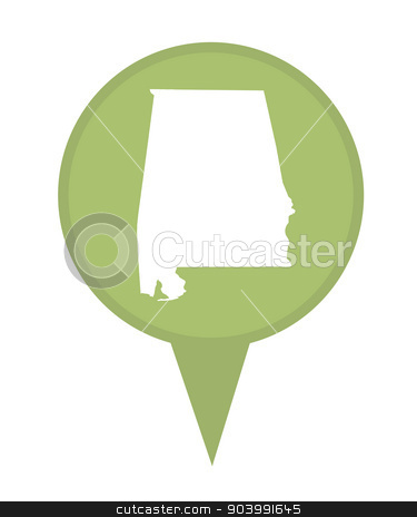 State of Alabama map pin stock photo, American state of Alabama marker pin isolated on a white background. by Martin Crowdy