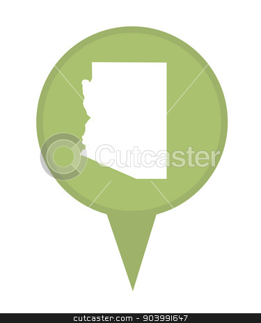 State of Arizona map pin stock photo, American state of Arizona marker pin isolated on a white background. by Martin Crowdy