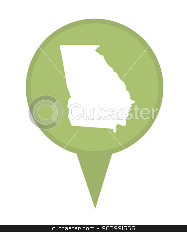 State of Georgia map pin stock photo, American state of Georgia marker pin isolated on a white background. by Martin Crowdy