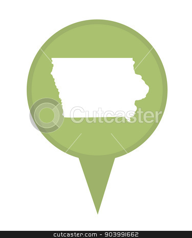 State of Iowa map pin stock photo, American state of Iowa marker pin isolated on a white background. by Martin Crowdy
