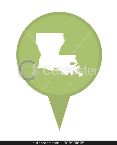 State of Louisiana map pin stock photo, American state of Louisiana marker pin isolated on a white background. by Martin Crowdy