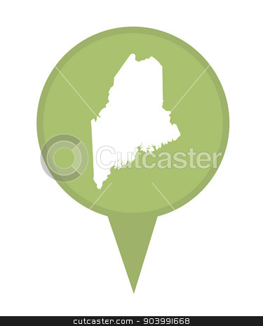State of Maine map pin stock photo, American state of Maine marker pin isolated on a white background. by Martin Crowdy