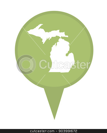 State of Michigan map pin stock photo, American state of Michigan marker pin isolated on a white background. by Martin Crowdy