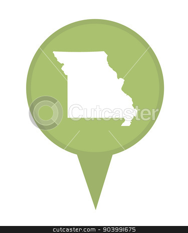 State of Missouri map pin stock photo, American state of Missouri marker pin isolated on a white background. by Martin Crowdy