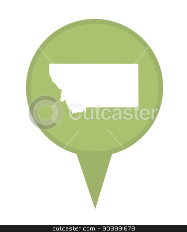 State of Montana map pin stock photo, American state of Montana marker pin isolated on a white background. by Martin Crowdy