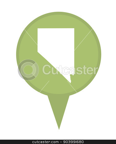 State of Nevada map pin stock photo, American state of Nevada marker pin isolated on a white background. by Martin Crowdy