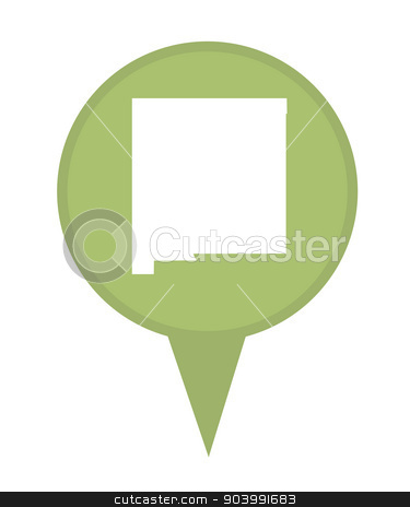 State of New Mexico map pin stock photo, American state of New Mexico marker pin isolated on a white background. by Martin Crowdy