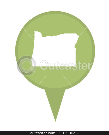 State of Oregon map pin stock photo, American state of Oregon marker pin isolated on a white background. by Martin Crowdy