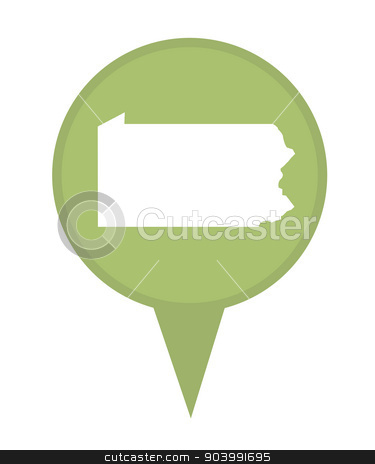 State of Pennsylvania map pin stock photo, American state of Pennsylvania marker pin isolated on a white background. by Martin Crowdy