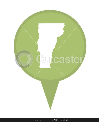 State of Vermont map pin stock photo, American state of Vermont marker pin isolated on a white background. by Martin Crowdy
