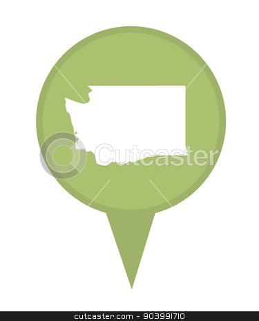 State of Washington map pin stock photo, American state of Washington marker pin isolated on a white background. by Martin Crowdy