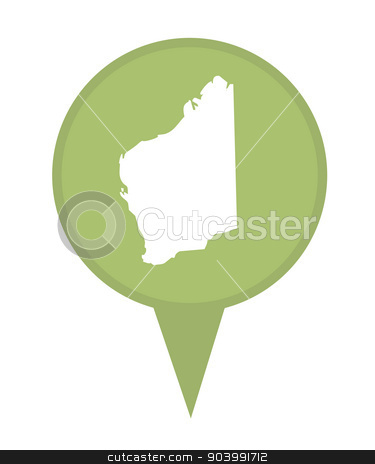 Australia State of Western Australia map marker pin stock photo, Australia State of Western Australia map marker pin isolated on a white background. by Martin Crowdy