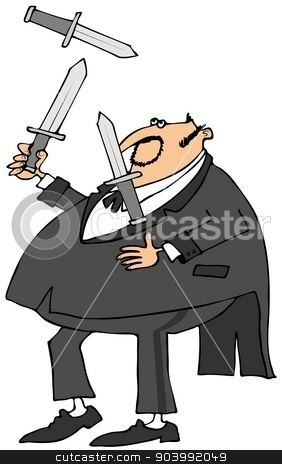 Man in a tux juggling knives stock photo, This illustration depicts a chubby man wearing a tuxedo juggling three large knives. by Dennis Cox