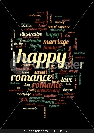 Happy stock photo, Happy word and tag cloud on black background. by Henrik Lehnerer