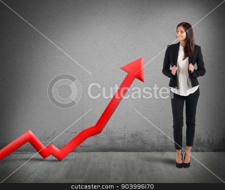 Good profit stock photo, Businesswoman proud of its good financial profit by Federico Caputo