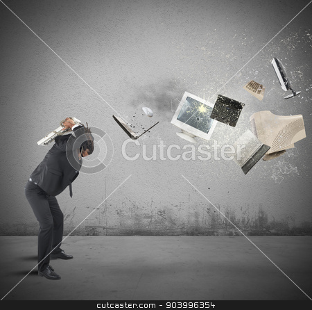Stressed out from work stock photo, Businessman overloaded and stressed out from work by Federico Caputo