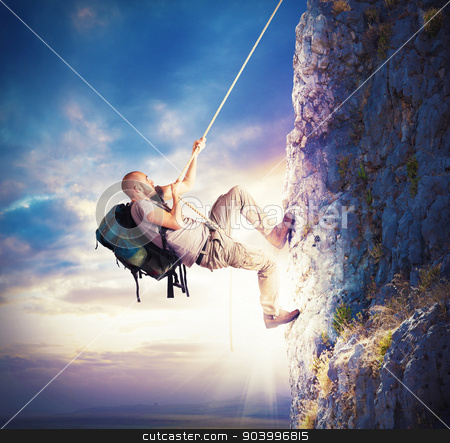 Climbing mountains stock photo, Explorer and his passion for climbing mountains by Federico Caputo