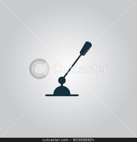 PC Microphone. Single flat icon. Vector illustration. stock vector clipart, PC Microphone. Flat web icon, sign or button isolated on grey background. Collection modern trend concept design style vector illustration symbol by Liudmila Marykon