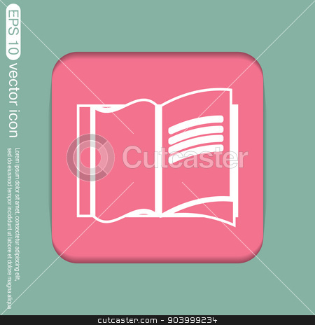 Open book icon stock vector clipart, Open book icon by LittleCuckoo